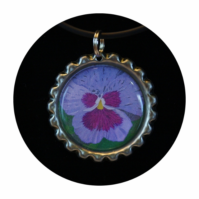 Pansy bottle cap, Pansy Charm Jewelry,pansy necklace,botanic necklace,floral necklace,gift for a woman,viola necklace,party favor, Item #PN1 girl gift, purple flower, girl's party favor, loot bag, flower party favors, goody bag