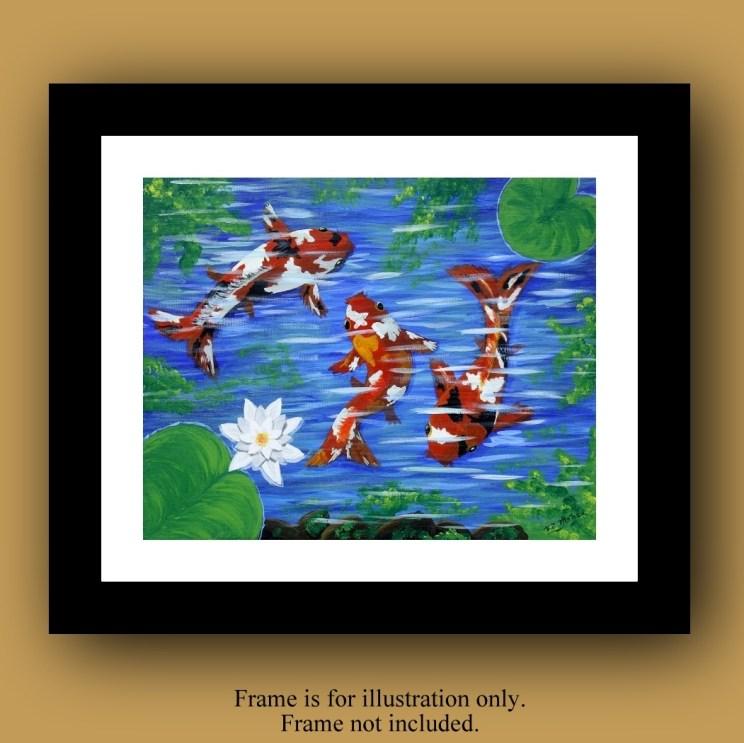 Koi Fish Decor, Koi Fish home Decor, Koi Fish Art, Koi Fish Painting, Koi Fish picture, goldfish pond, Koi pond, Koi pond art, Item# KFO-01 Art for sale, acrylic painting for sale