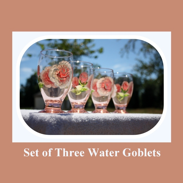 Set 3 Water Goblets, 9oz glass, hand painted glass, Juice glasses, Peach tinted glass, hand painted roses, hand painted flowers, Item #PWG3 spring or summer cup, spring time glass, summer drink glass, wedding gift, housewarming, kitchen glass