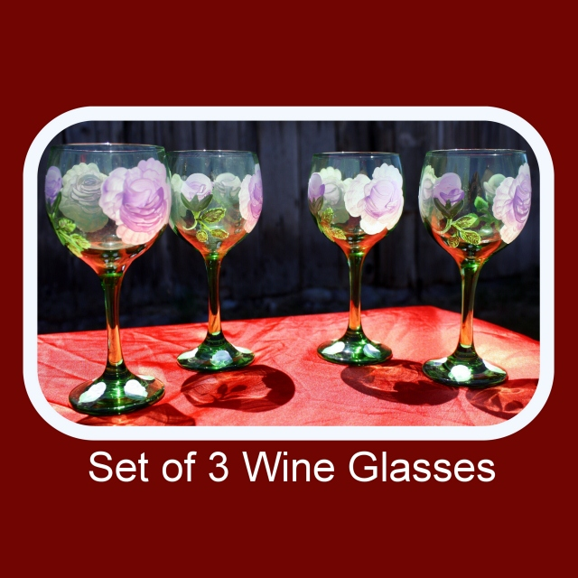 Set of three, hand painted glasses,painted wine glasses,bohemian green glass,drinking glasses,floral drinkware,beverage glasses, Item #GWG-3 floral pattern, table decor, anniversary gift, wedding gift, stemware gift, unique gift,