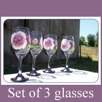 Set of three, Hand painted, purple wine glasses, stemware, purple tinted glass, rose pattern, floral pattern, weddings, romantic,Item #PWG-3 Mother's Day gift, wine glass gift, gift for her, wedding gift