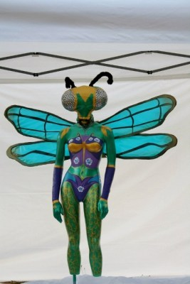 Queen of the Mantis Flies, finished sculpture, whole body, front view.
