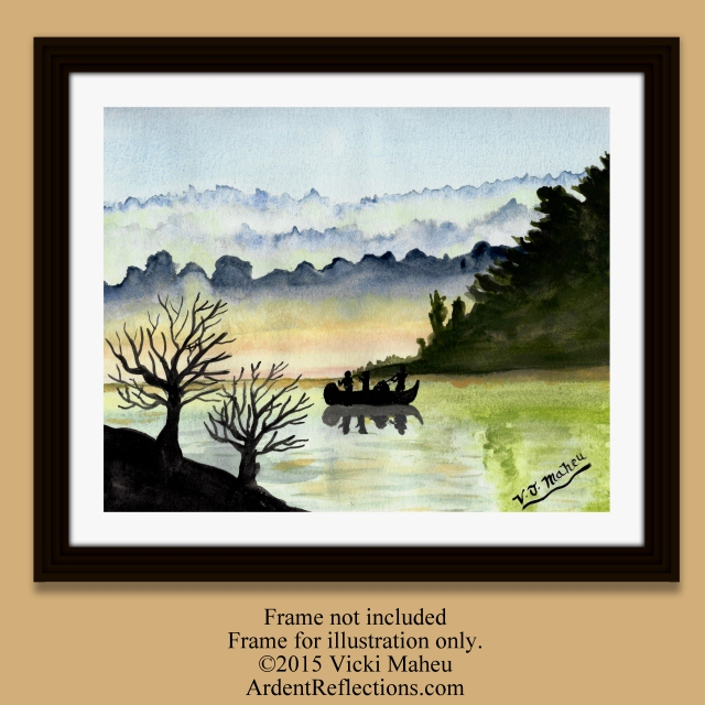Canoe painting, beach camping, foggy painting, fog, lake art, mountain painting, lake painting, canoe fishing, watercolor print, Item #CMP01 Native American, rustic home decor, mountain decor, morning fog