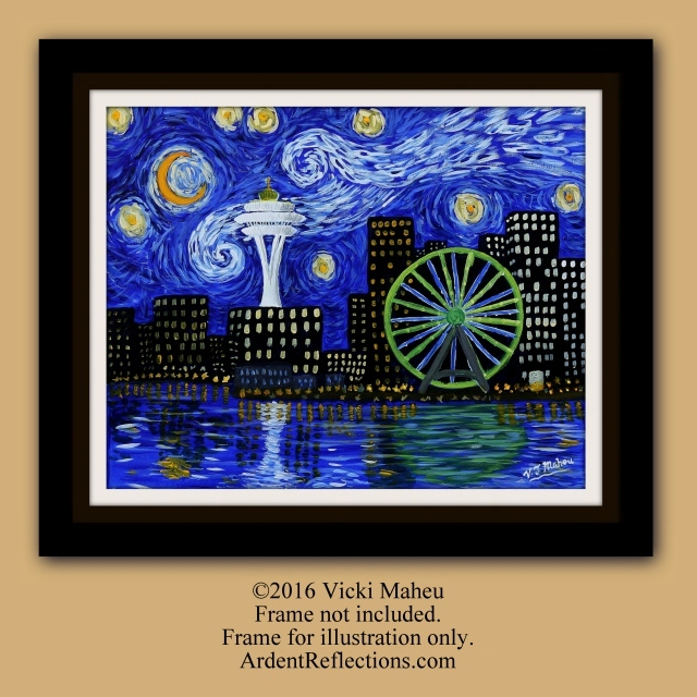 Starry Night, Vincent Van Gogh, Seattle, the Starry Night, Giclee Print, Seattle Painting, stars, night sky, Starry Night Art, Item #SNS-1P galaxy, Seahawks, impressionist art, Seattle Skyline