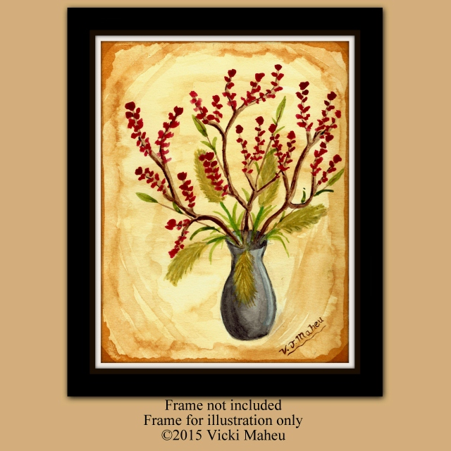 Still Life floral, brown, contemporary art, flower in vase, watercolor,, warm earth tones, home decor, wall art, blossom print, Item # SLF-P Earth tone wall art, earth tone decor, blossoming branch, red flowers