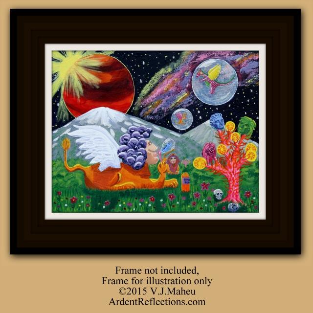 Space Painting, Surreal Art, Trippy Art, Space art, Sphinx Art, Dragon Painting, Bubbles, Bubble Painting, Surreal Art Print, Item # SDWP1 Fantasy Art, Surreal Painting, Dragon Art, Sphinx Painting