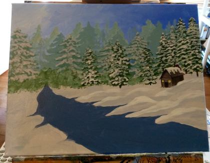 You can see that in this layer I added a much more clearly defined layer of trees, with clearly visible snow on the branches. I also added hints of snow in some of the trees from previous layers. Then, decided I needed a little cabin sitting among mounds of snowdrifts. I also began the outline of what would be a little river running through my painting.
