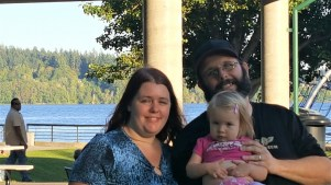 My oldest daughter Eliana, my son-in-law Dustin, and my granddaughter Cosette.
