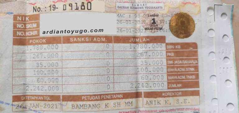 pajak yamaha lexi 125 terbaru