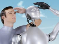 A Man and a Robot staring into the distance