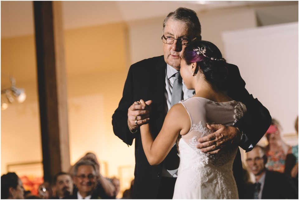 Book Theme Wedding Reception bride and dad dancing