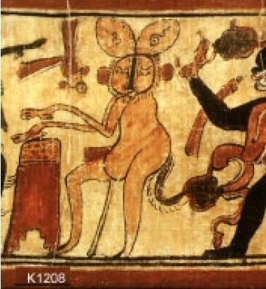 Naskah yang menunjukkan keadaan Bulan dalam gambar Telinga kelinci dan wajahnya yang pecah dan ditandai dengan Simbol Dewi Bulan.