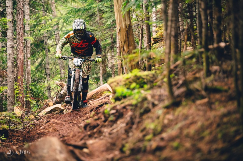 Remi Gauvin working the terrain in the Creekside woods
