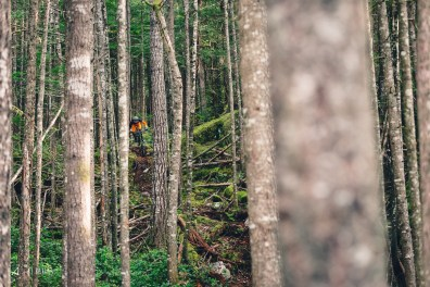 Jessie Mcauley deep in the woods of Squamish