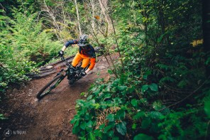 Jessie Mcauley railing berms in Squamish