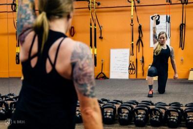 Sarah Leishman working on her shoulder strength