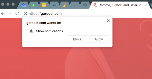 block push notifications popup