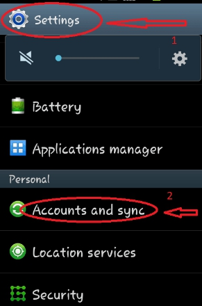 google account and sync setting