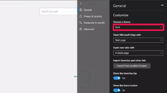 microsoft soft edge settings