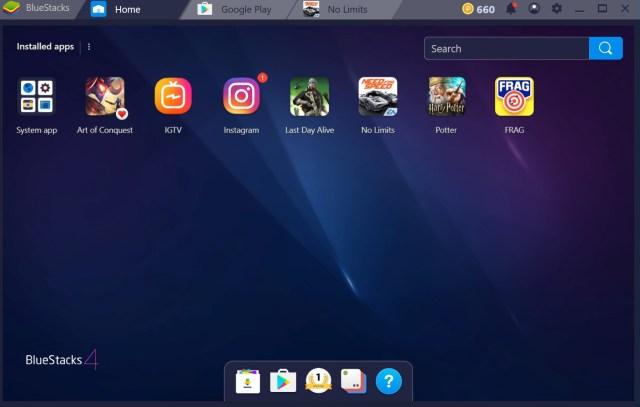 bluestacks 4 home screen interface