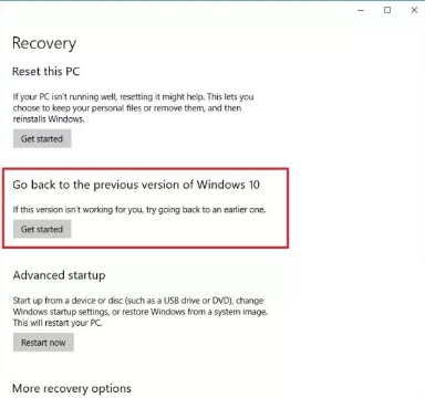 go back to the previous version of windows 10 setting page