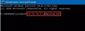 remove hidden recycle bin from command prompt