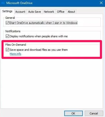 disable files on demand to enable file history backup