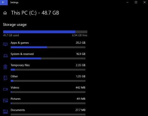 storage usage windows 10 settings