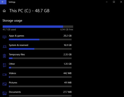 storage usage windows 10 settings