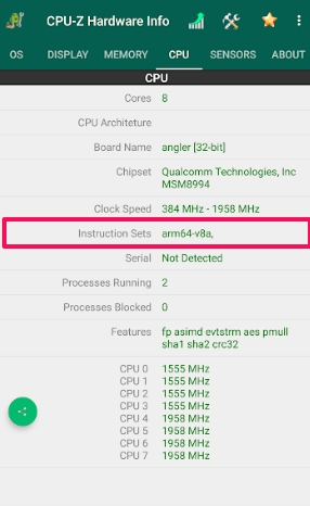 android cpu type