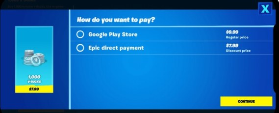 fortnite direct payment system android