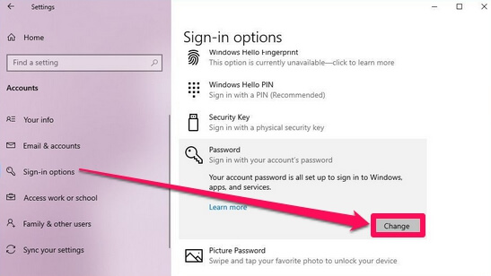 remove password local account windows 10