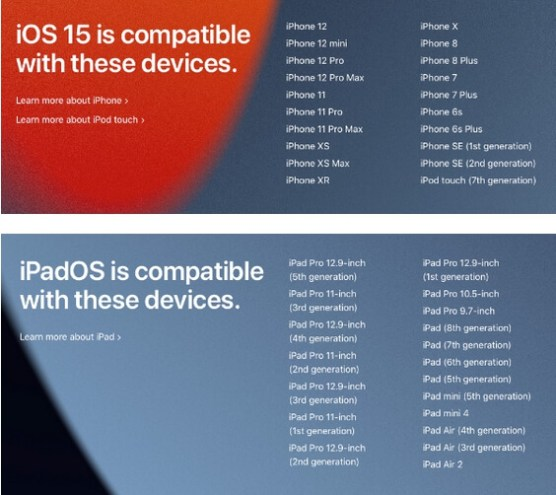 ios 15 and ipados 15 compatible devices