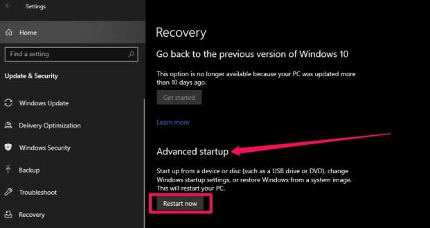 advanced setup restart now windows settings