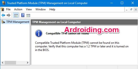 compatible TPM cannot be found error