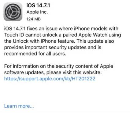 ios 14.7.1 release notes