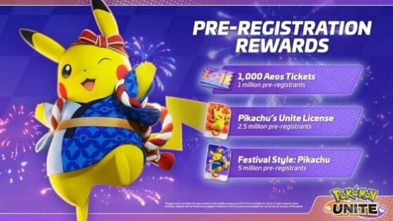 pokemon unite pre-registration rewards