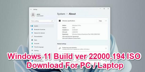 windows 11 build 22000.194 iso