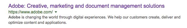 Adobe's SERP on Google