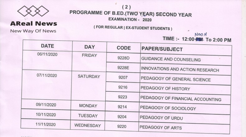 Mlsu b.ed IInd Year Time table