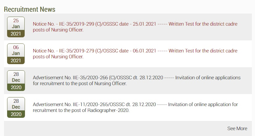OSSSC Nursing Officer Admit Card 2021