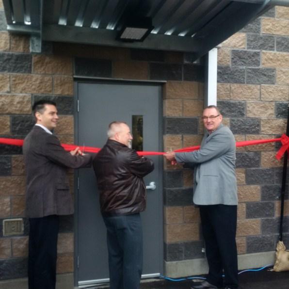 MLA Todd Stone, Chase Mayor Rick Berrigan and MP Colin Mayes cut ribbon on new water plant.