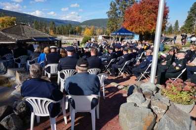 Crowd enjoyed a bright, sunny day for the ceremony.