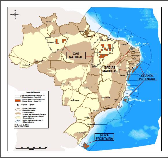 Mapa da 13a RODADA de LICITAÇÃO ANP - 2015