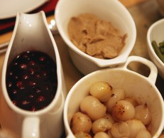Gravy, Chesnut puree and braised onions