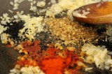 frying spices in pan
