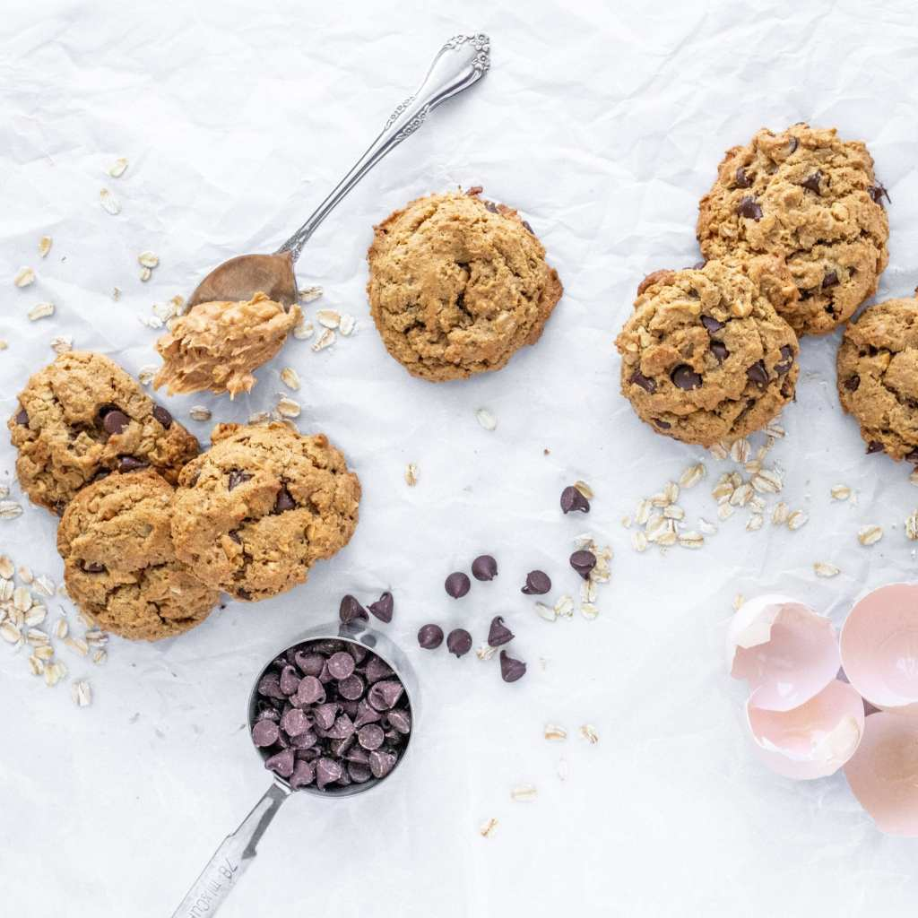 baked cookies with peanut butter and chocolate chips. Egg shells