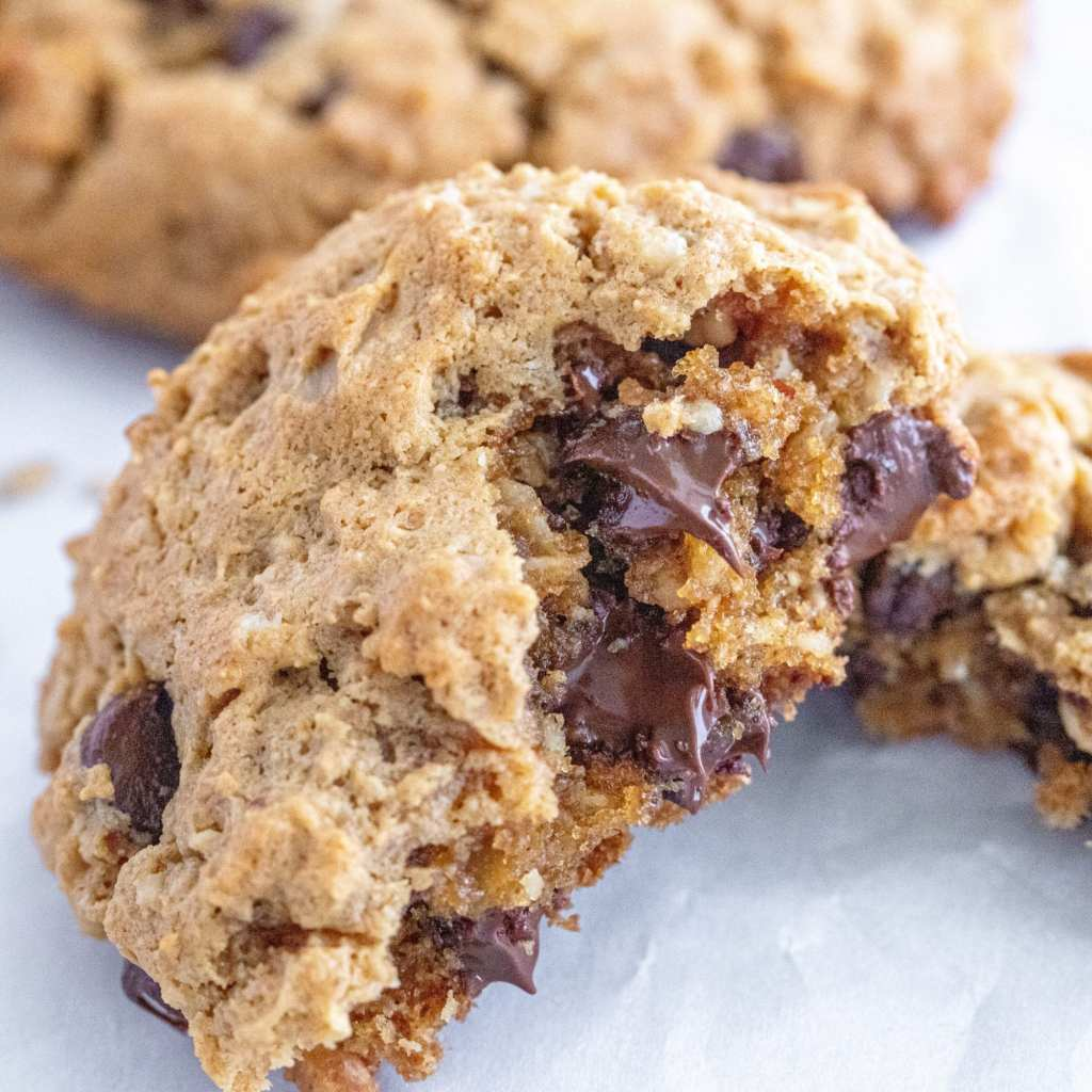melted chocolate in flourless peanut butter and chocolate chip cookie