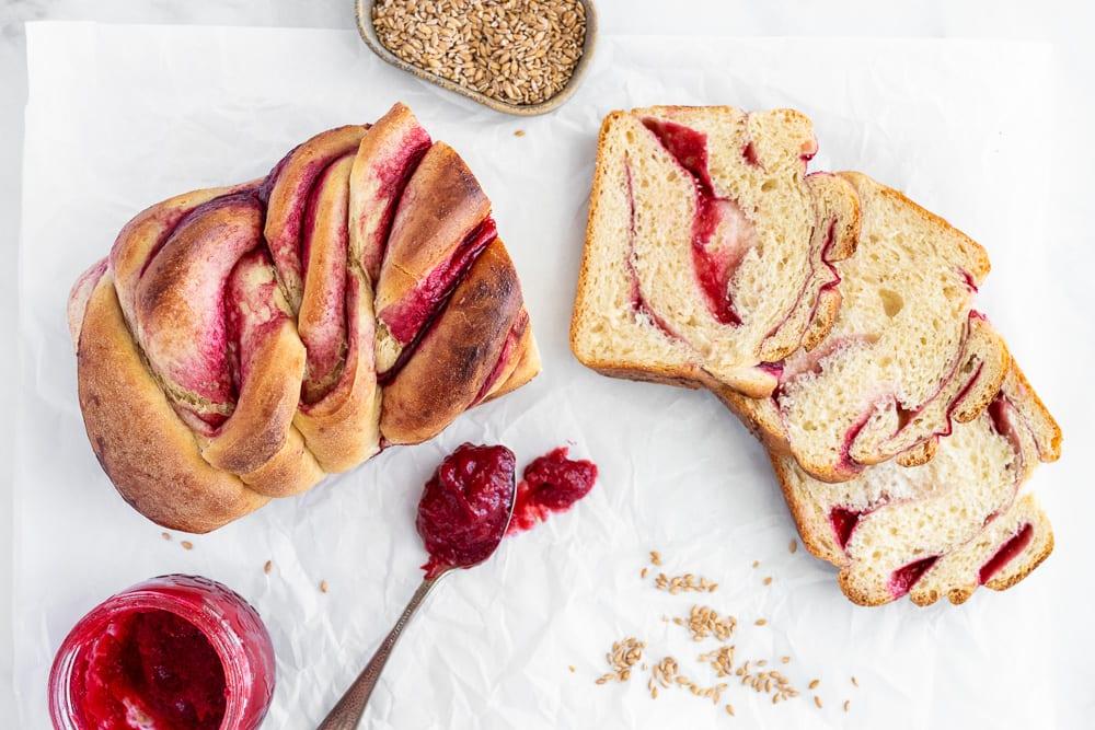 sliced raspberry swirl loaf