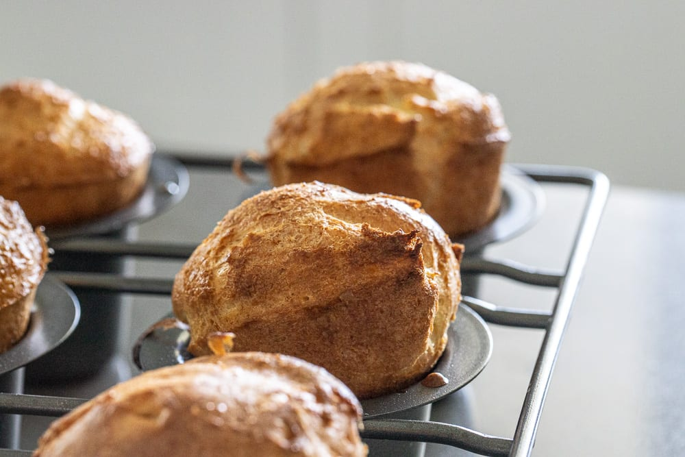 baked whole grain popovers in popover baking pan.